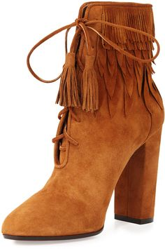 Shoemania I bohemian style ankle boots I heels I Aquazzura Woodstock Suede Fringe Bootie, Cognac @monstylepin