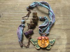 Mixed Media Free Spirit Polymer Clay Pendant with Sari Silk Ribbon, Gemstone Beads and Copper Wire Rustic Boho Gypsy Necklace By Spontaneous Soul on Easy