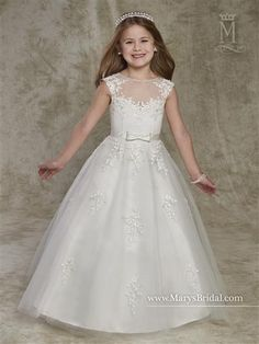 Cupids F531 Tulle A-line flower girl dress with bateau neck line, cap sleeves, bow belt, lace appliques, and back zipper closure.  #flowergirl #dress #gown #azaria #azariabridal #weddings #celebration #event #fashion #love #ballgown #flower #girl