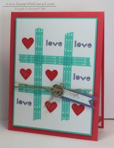 handmade Valentine card from Stamp With Amy K ... tic tac toe with hearts and love ... fun look ... aqua, rose and wisteria ...  Stampin' Up!