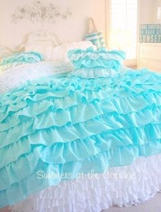 KING SHABBY COTTAGE CHIC LAYERS OF DREAMY AQUA TEAL PETTICOAT RUFFLES DUVET COMFORTER COVER SET