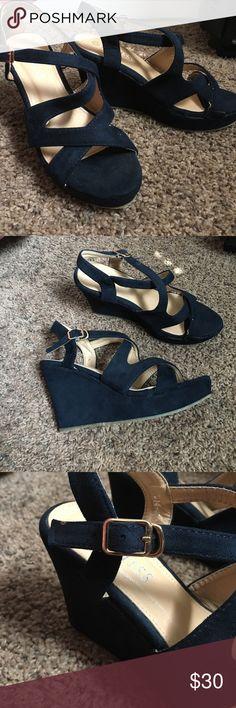 New sandals. Velvety dark blue high heels sandals. Never been worn before. Shoes Sandals