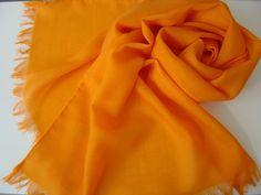Schals - Wollschal Merinoschal mandarine - ein Designerstück von textilkreativhof bei DaWanda