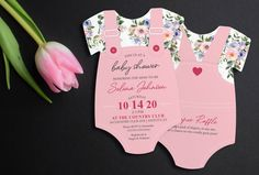 Floral Baby Shower Invitation | Floral Print Invite | Girl Baby Shower | Pink Shower invitation | Die Cut shaped | Printed Invitations