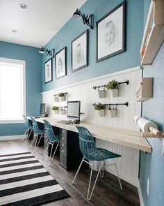 √ 15 Creative Home Office Ideas, Design, and Decor for Inspiration - Single Voice Kids Office, Office Playroom, Home Office Space, Home Office Design, Home Office Decor, Home Decor, Office Ideas, Family Office, Blue Office