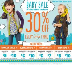BABY SALE Talk of the Town 30% OFF every little thing. NEW collection of Clothes, Shoes , every thing for Baby Boys and Baby girls.