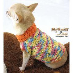 Colorful summer clothing for dog xxs by myknitt #handmade #tagt #diy #art #crochet #dog #cute #xxs #cotton #myknitt