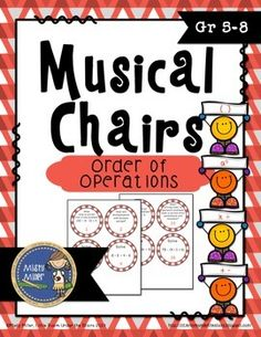 Order of Operations Musical Chairs is a game similar to musical chairs. It involves music and math! There are 32 cards with problems and questions involving order of operations, parentheses and exponents are included on some cards. Place seats in a circle, put the cards on each seat, and add some music. Practicing math in an entertaining way! The cards can be used as task cards for individuals or partners. $ gr 5-8
