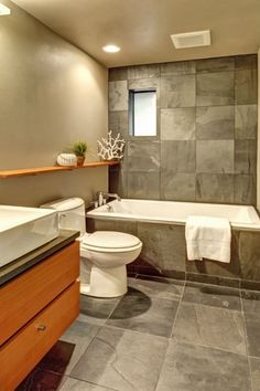 Contemporary 3/4 Bathroom with Stained glass window, Simple granite counters, Vessel sink, Clarissa bathroom vanity set
