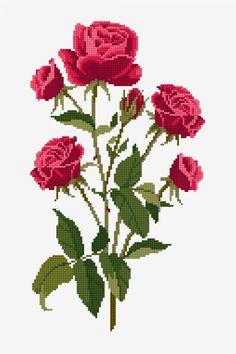 Free embroidery ,cross stitch patterns , crochet and knitting pattterns Cross Stitch Rose, Cross Stitch Flowers, Cross Stitch Kits, Cross Stitch Charts, Cross Stitch Designs, Cross Stitch Patterns, Loom Patterns, Canvas Template, Cross Stitching