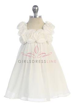 Ivory Chiffon A-line Infant Flower Girl Dress CB-611-IV CB-611-IV $36.95 on www.GirlsDressLine.Com