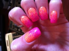 Gel nail art -hot pink and orange fade with INT Beverly hills and INT Sunset boulevard overtop!