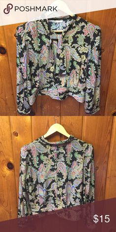 Vintage Paisley Printed Blouse No tags, but would fit small or medium depending on bust/ Most likely Polyester Tops Blouses
