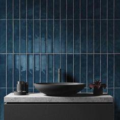Amazing deep teal bathroom wall tiles with a dark charcoal grey sink…fab… – 2019 - Bathroom Diy Gray Bathroom Walls, Mold In Bathroom, Dark Bathrooms, Bathroom Wall Decor, Bathroom Colors, Grey Walls, Charcoal Bathroom, Bathroom Fixtures, Bathroom Ideas