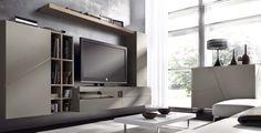 Composición C #comedormoderno acabado en #chapanatural de roble y #lacadomate cuerda. Mueble TV-DVD con frente de cristal bronce y mueble-estantería de gran capacidad.