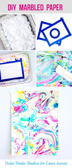 Such a fun craft project - would make a perfect summer activity with your kids! DIY Marbled Paper