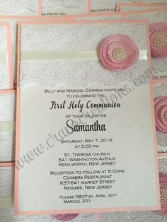 Samantha Lace Ribbon Flower Pearl First Communion Invitation