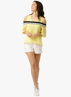 1c43efd6b1517 Buy Dressberry Yellow Solid Blouse for Women Online India
