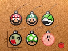 Mario Christmas Ornaments and Magnets made from Perler Beads