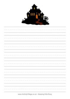 Halloween Writing Paper - Haunted House