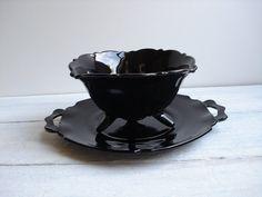 vintage black amethyst glass