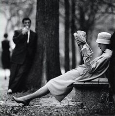 Woman on park bench, Central Park, New York, 1957