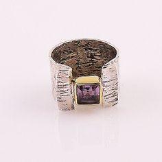 Amtheyst Two Tone Sterling Silver Ring | KejaJewelry - Jewelry on ArtFire