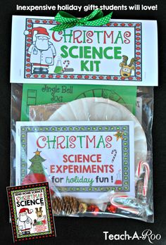 These make such unique (and inexpensive) holiday gifts for kids who love science. The experiments are all Christmas themed and super fun!!