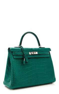 35 Cm Hermes Malachite Matte Alligator Retourne Kelly by HERITAGE AUCTIONS SPECIAL COLLECTION for Preorder on Moda Operandi