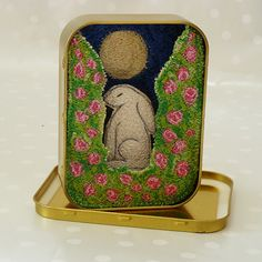Hare in the Moonlight amongst the Wild Roses - Embroidered Artisan Tin Keepsake Box | GiftWrappedand