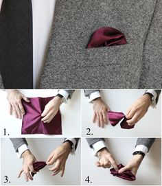 How To Fold a Pocket Square: The Crown Fold - looks a little bit like flames in a pocket! Pocket Square Folds, Pocket Square Styles, Mens Pocket Squares, Pochette Costume, Pocket Handkerchief, Men Style Tips, Tie Knots, Style Guides, Mens Fashion