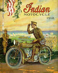 Vintage Motorcycles Vintage Indian Motorcycle Dealer Advertising Poster 1918 World War 1 8 x 11 - Motos Vintage, Vintage Indian Motorcycles, Vintage Bikes, Vintage Motorcycles, Vintage Ads, Vintage Images, Old Posters, Posters Vintage, Vintage Advertising Posters