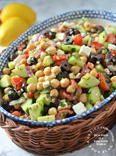 Mediterranean Chickpea 038 Feta Salad Take this salad to your next bbq and wow them with all the health benefits of chick peas red peppers red onion kalamata olives and cucumbers instead of mayo based salads mediterranean chickpea salad summer Chickpea Feta Salad, Feta Salat, Chickpea Salad Recipes, Vegetable Salad Recipes, Bean Salad Recipes, Cucumber Recipes, Cauliflower Salad, Summer Salad Recipes, Simple Salad Recipes