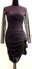 Sexy Fitted CACHE (by Tadashi) Vintage Black Ruffled Rouched Mesh Dress Sz 4