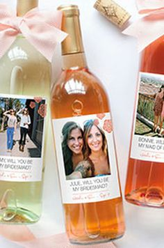 Wine bottle labels - cute way to ask your besties to be your bridesmaids!