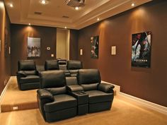 Modern Home Theater with Carpet, Standard height, Theatre seating, Box ceiling, Ceiling mounted projector, can lights