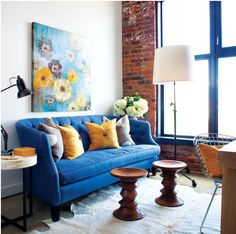 Attirant Cobalt Blue And Yellow Living Room