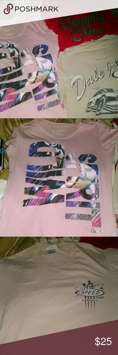 """Tshirt Bundle Three great Tshirts.  All in great condition.  1. Areopostle pink """"Wild Spirt"""" horse print 2. """"Naughty & Nice Christmas Tshirt.  Excellent condition.  Worn once. Silver flare is so cute! 3. Old school """"Dale Jrs Speed Shop"""" T. Tops Tees - Short Sleeve"""