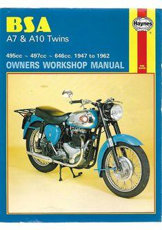 HAYNES BSA A7 & A10 Twins Owners Workshop Manual 495cc 497cc 646cc 1947 to 1962 #BSA Repair Manuals, Birmingham, Twins, Workshop, Motorcycle, Car, Gemini, Automobile, Atelier