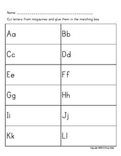 ABC Magazine Letter Hunt (2 Versions - English and Spanish) $ Kids cut letters out from old magazines to help with letter identification and upper/lowercase recognition.