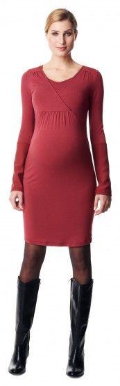 Ženska haljina dugih rukava za dojenje ESPRIT MATERNITY - tamno crvena