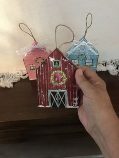 Handpainted wood barn with twine hanger. Cute little ornaments all original and handpainted. I have loads of these at my Etsy shop, DDOvercastHandmades Christmas Garlands, Christmas Houses, Christmas Wood, 1st Christmas, Homemade Christmas, Simple Christmas, Christmas Ideas, Christmas Crafts, Christmas Decorations