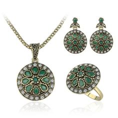 Women's Turkish Indian Desi Hurrem Style, Ancient Gold Toned Flower Petal Patterned Necklace, Ring & Earrings Set with CZ Green Agate Resins. Unique Collection & Ultra Exotic Three Piece Jewelry Set for her!  #Hurrem #Flower #EvilEyes
