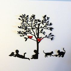 Die Cut and Embossed Shapes Reading Tree with Girl by MelAriandme