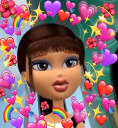 I loved this one because I felt like her and I looked a like and I liked how they put the hearts around her Bratz Doll, Dolls, Heart Meme, Daily Mood, Cartoon Profile Pics, Profile Pictures, Cute Memes, Wholesome Memes, Meme Faces