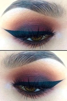 Little Burgundy eye makeup look. List of makeup products, makeup hacks, Makeup for brow eyes, blue eyes, green eyes. Highlights your eyes. Eyeshadow beauty tutorial for smokey eyes, nude lip with wing eyeliner. #smokeywingedliner