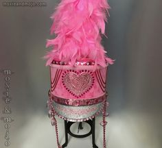 The heart wants what the heart wants... and we cant blame it for wanting this oh so adorable pink, rhinestone hand embellished and one of a kind Marching Band festival fashion fabulous shako hat. Pink feather plume included with your hat and is removable for shipping and easy storage. ***************************************** Authentic Marching Band Uniform Shako style hat - Size: Medium - Hat Size: 7 1/4 *Shakos have great built in ability to adjust sizing for comfort and fit - tie tigh...