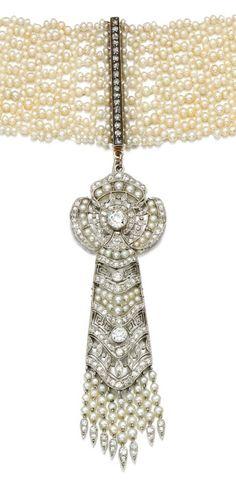 A Belle Epoque seed pearl and diamond choker, circa 1910, composite. The choker…
