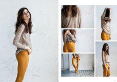 mustard leggings and sheer knit | humanoid