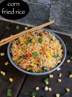 corn fried rice recipe, sweet corn fried rice, chinese corn fried rice with step by step photo/video. simple & easy fried rice recipe, ideal for lunch boxes Sweet Corn Recipes, Rice Recipes, Vegetarian Recipes, Recipies, Crab Recipes, Cooking Recipes, Indo Chinese Recipes, Indian Food Recipes, Ethnic Recipes